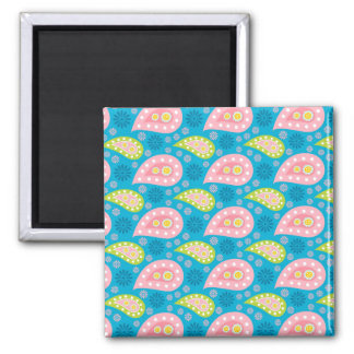 Swimming Paisley 2 Inch Square Magnet