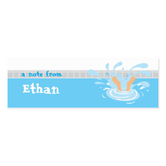 Swimming party loot bag thank you tag Double-Sided mini business cards (Pack of 20)