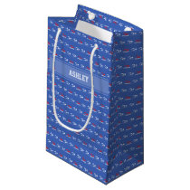 Swimming pattern custom name small gift bag