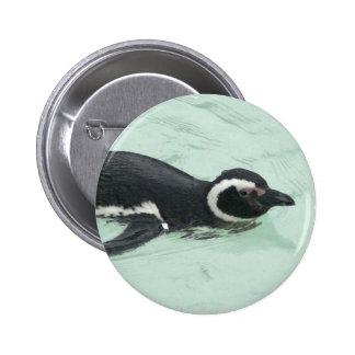 Swimming Penguin Round Pin