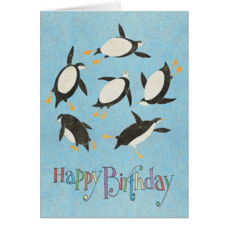 Swimming Penguins Birthday Card