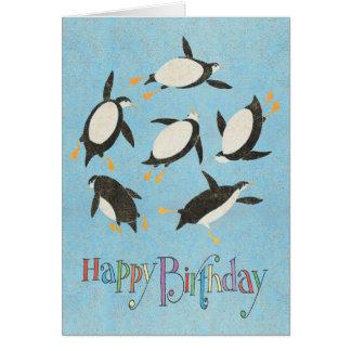 Swimming Penguins Birthday Card