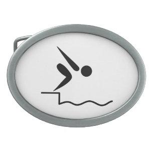 Swimming Pictogram Belt Buckle