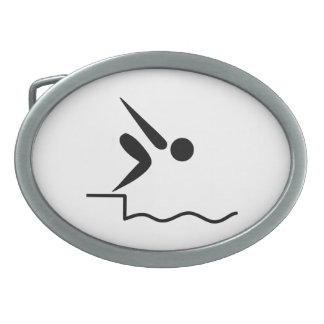 Swimming Pictogram Oval Belt Buckle