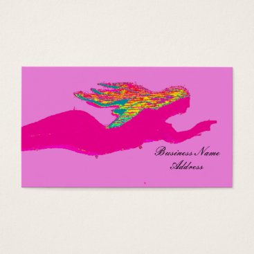Beach Themed swimming pink mermaid business card