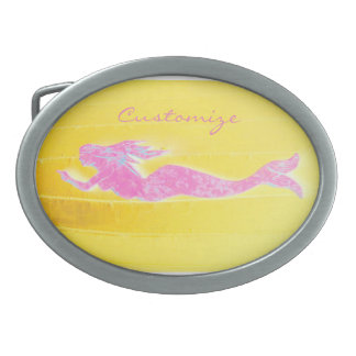 swimming pink mermaid Thunder_Cove Oval Belt Buckle
