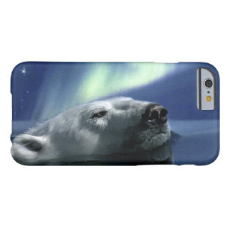 Swimming Polar Bear and Aurora Wildlife Design Barely There iPhone 6 Case