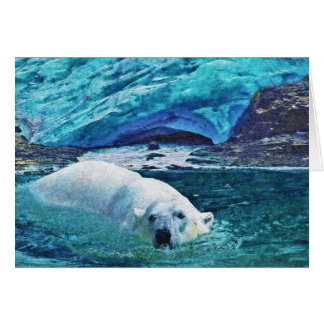 Swimming Polar Bear & Arctic Ice Art Gifts Cards