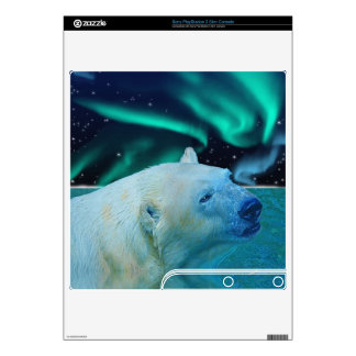 Swimming Polar Bear & Aurora I Playstation 3 Skin Decal For The PS3 Slim