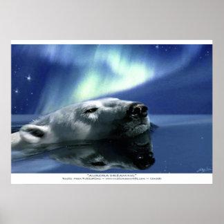 Swimming Polar Bear & Aurora Poster Print