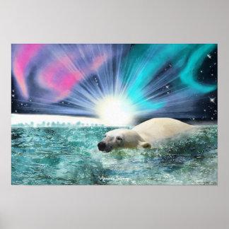 Swimming Polar Bear & Aurora Wildlife Art Poster