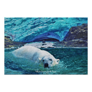 Swimming Polar Bear & Glacier Wildlife Art Poster