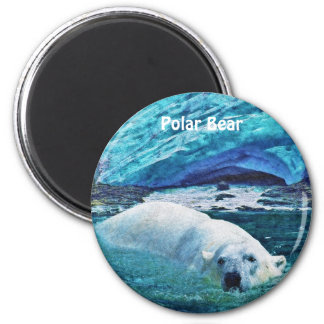 Swimming Polar Bear & Ice Wildlife Art Magnet