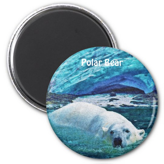 Swimming Polar Bear & Ice Wildlife Art Magnet