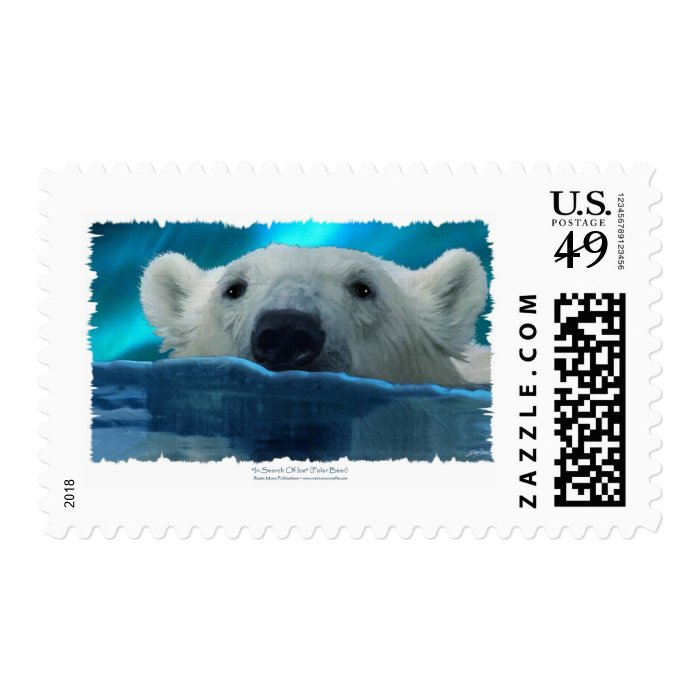SWIMMING POLAR BEAR POSTAGE STAMP