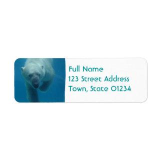 Swimming Polar Bear  Return Address Mailing Label Return Address Label