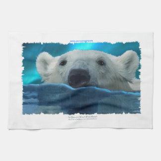 Swimming Polar Bear Wildlfie Art Kitchen Tea-Towel