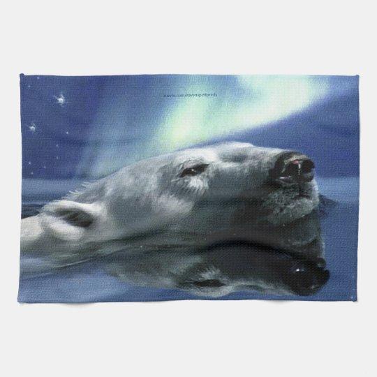 Swimming Polar Bear Wildlfie Art Kitchen Tea-Towel Towel