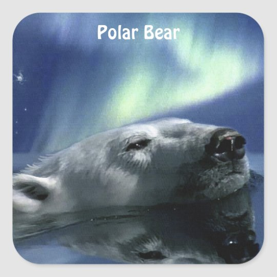 SWIMMING POLAR BEAR Wildlife Stickers