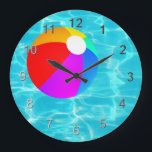 "Swimming Pool Beach Ball. Large Clock<br><div class=""desc"">A cool pool timepiece.</div>"