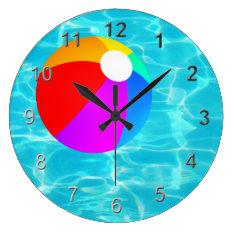 Swimming Pool Beach Ball. Large Clock at Zazzle