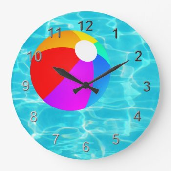 Swimming Pool Beach Ball. Large Clock by Impactzone at Zazzle