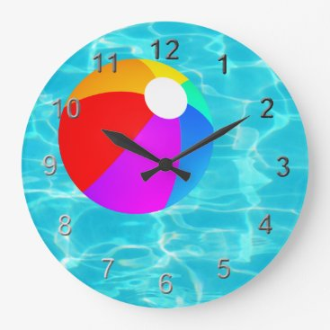 Beach Themed Swimming Pool Beach Ball. Large Clock