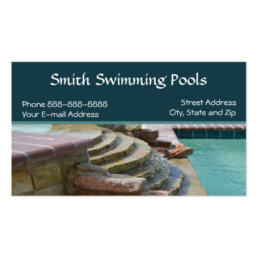 Swimming Pool Business Card Zazzle