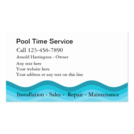 Swimming pool business cards zazzle for Pool company business cards