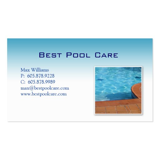 Swimming Pool Care Maintenance Business Card Zazzle