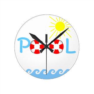 Swimming Pool Round Wall Clock