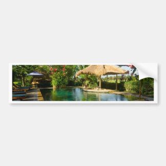 Swimming pool in a tropical resort car bumper sticker
