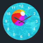 "Swimming Pool. Large Clock<br><div class=""desc"">A cool summer pool beach ball timepiece.</div>"