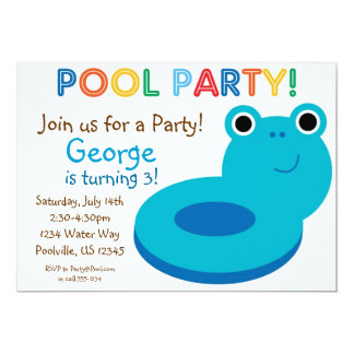 Swimming Pool Party - Blue Pool Floaty Birthday 5x7 Paper Invitation Card