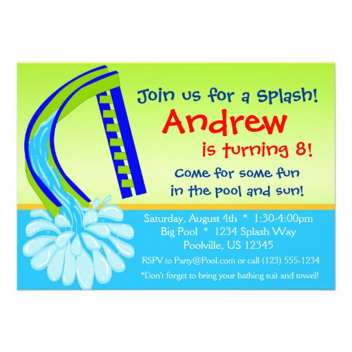 Swimming Pool Party - Green Water Slide Birthday Personalized Invites