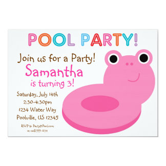Swimming Pool Party - Pink Pool Floaty Birthday 5x7 Paper Invitation Card