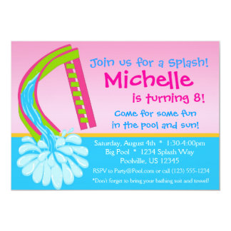 Swimming Pool Party - Pink Water Slide Birthday 5x7 Paper Invitation Card