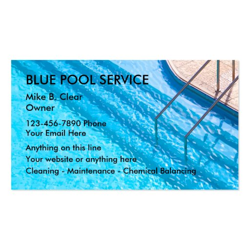 Swimming Pool Service Business Cards : Swimming pool service business cards zazzle