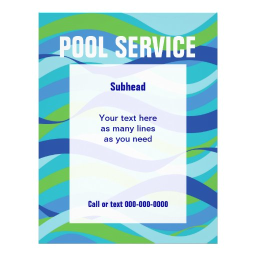 Swimming Pool Service Flyers : Swimming pool service with custom text flyers zazzle