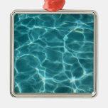 Swimming Pool Square Metal Christmas Ornament