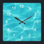 "Swimming Pool. Square Wall Clock<br><div class=""desc"">A cool pool timepiece.</div>"
