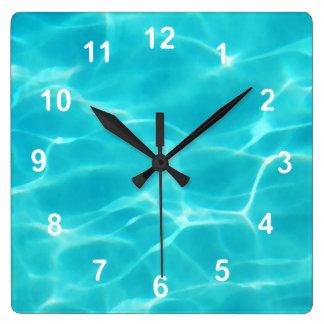 Swimming Pool. Square Wall Clock