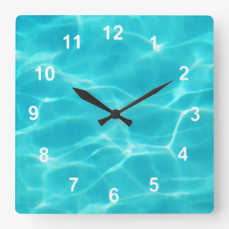 Swimming Pool. Square Wall Clock