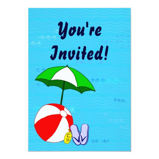 Swimming Pool Theme Custom Party Invitations
