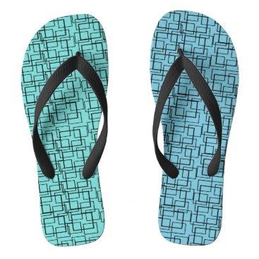 Beach Themed Swimming Pool Water Blue Green Black Summer Flip Flops