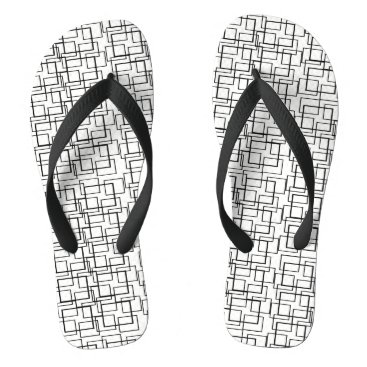 Beach Themed Swimming Pool Water Reflection Black White Summer Flip Flops