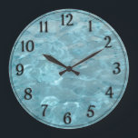 """Swimming Pool Water - Summer Fun Abstract Large Clock<br><div class=""""desc"""">Abstract photography of swimming pool water.  Cool refreshing teal abstract art created by manipulating an image of the moving water in a swimming pool.  Use this unique background design to create gifts with your text,  name,  initials or artwork.  Click the &#39;Customize it&#39; button and have fun with it.</div>"""