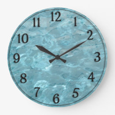 Swimming Pool Water - Summer Fun Abstract Large Clock at Zazzle
