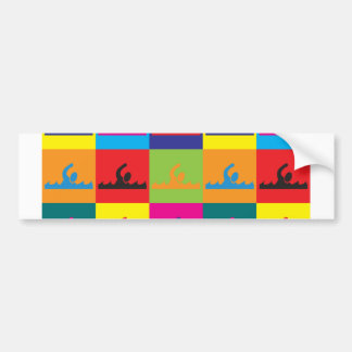 Swimming Pop Art Car Bumper Sticker