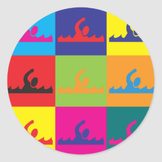 Swimming Pop Art Classic Round Sticker